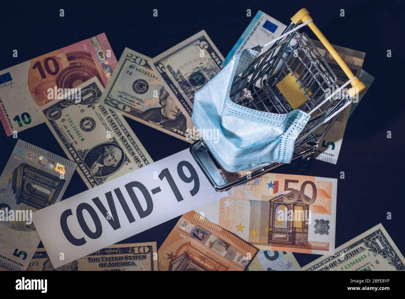 The impact of coronavirus on the economy. Economic and financial crisis. Drop in consumption due to the COVID-19 epidemic. Stock Photo
