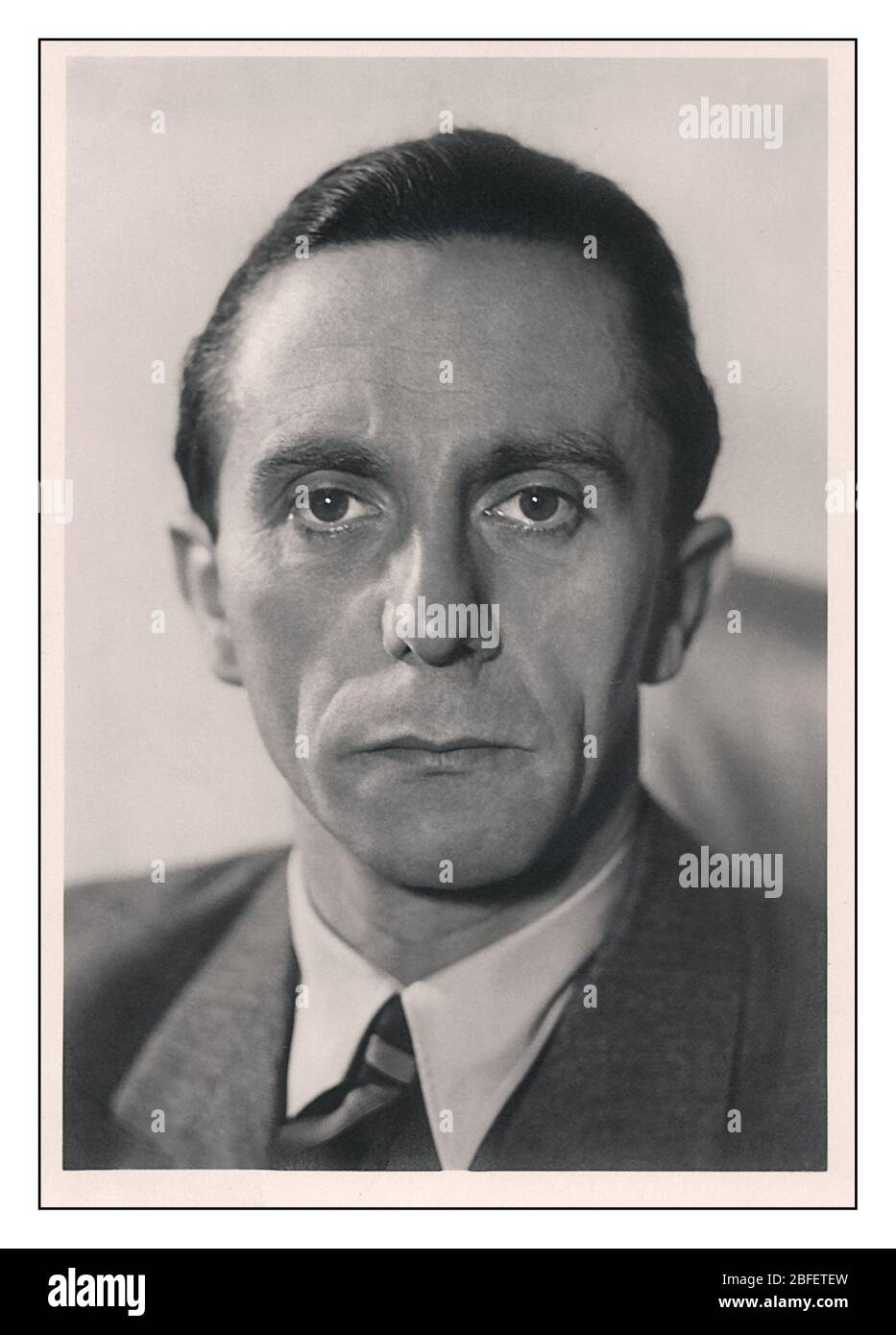 1930s Portrait of Paul Joseph Goebbels a German Nazi politician and Reich Minister of Propaganda of Nazi Germany from 1933 to 1945. He was one of Adolf Hitler's closest and most devoted associates, and was known for his skills in public speaking and his deeply virulent antisemitism, which was evident in his publicly voiced views. Committed suicide in 1945 with Allies on final assault to central Berlin Germany Stock Photo