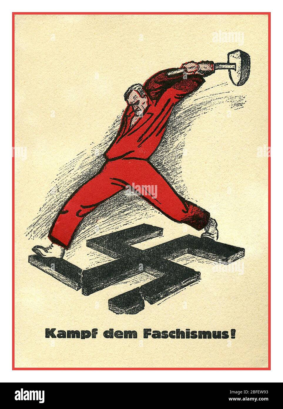 Vintage propaganda 1930s archive anti-Nazi poster 'Fight fascism' 1938, Austrian Anti Nazi Propaganda.-AK Kampf dem Faschismus, Man in red smashes swastika with hammer Mann in rot mit Hammer zerschlägt Hakenkreuz Stock Photo