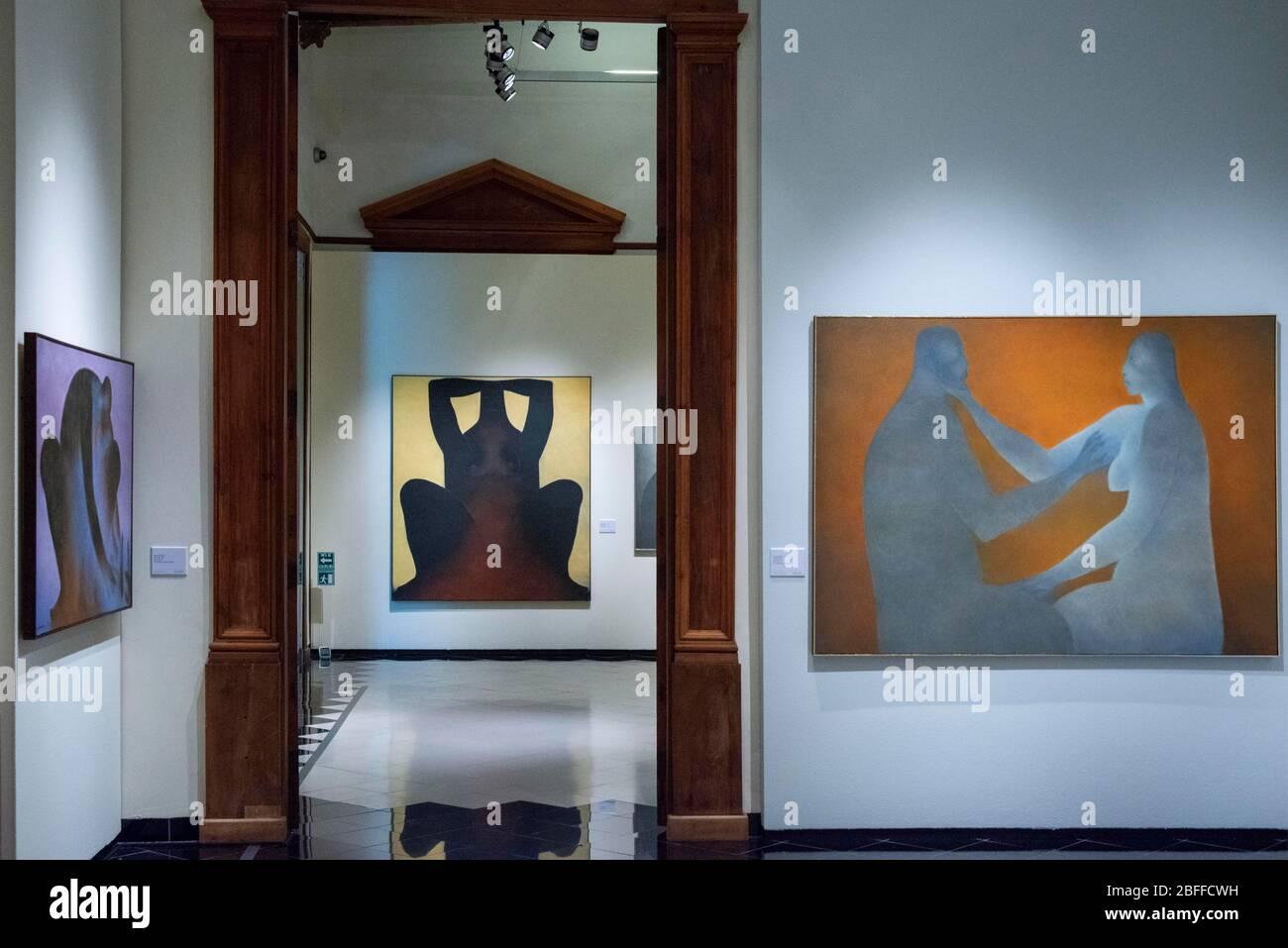 Ricardo Martinez paints exhibition Inside Casa de Montejo museum in Zocalo square in Merida, the capital city of the Yucatan, Mexico Latin America.  C Stock Photo