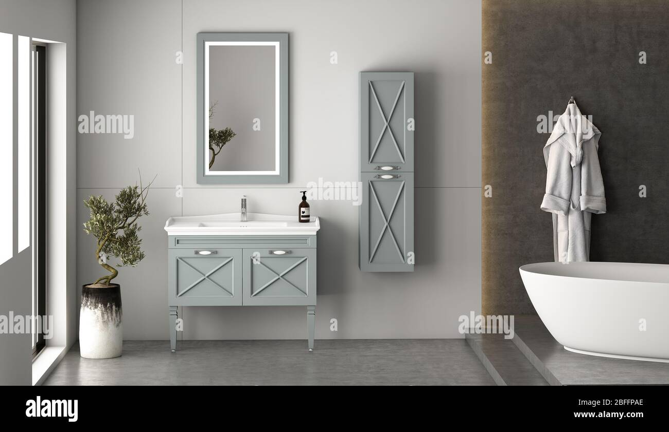 Modern Bathroom Interior And Bathroom Furniture Set With Bathroom Accessories 3d Rendering And Design 3d Rendering Stock Photo Alamy