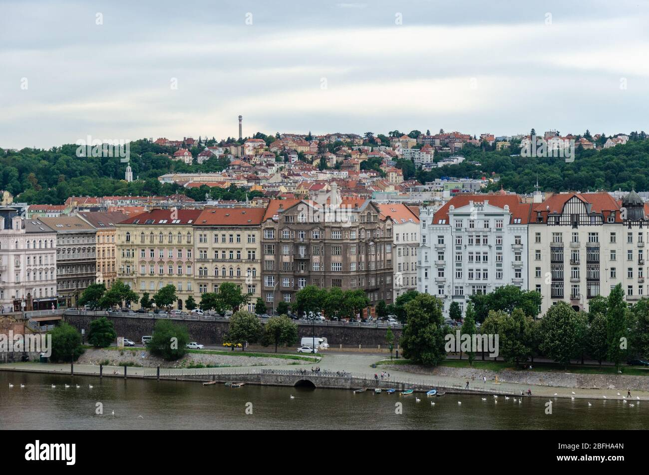 Beautiful view of the surrounding cityscape from the top floor terrace of Dancing House, Prague, Czech Republic Stock Photo