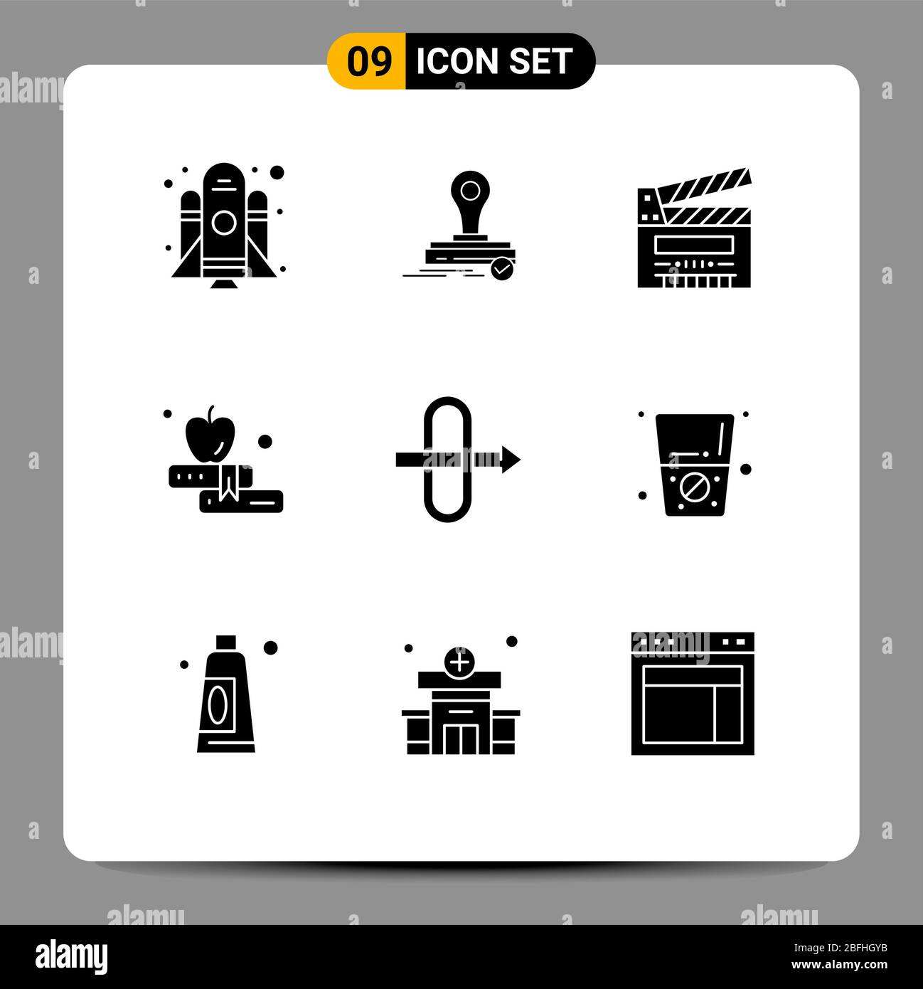 User Interface Pack Of 9 Basic Solid Glyphs Of Diet Gateway Cut Education Apple Editable Vector Design Elements Stock Vector Image Art Alamy
