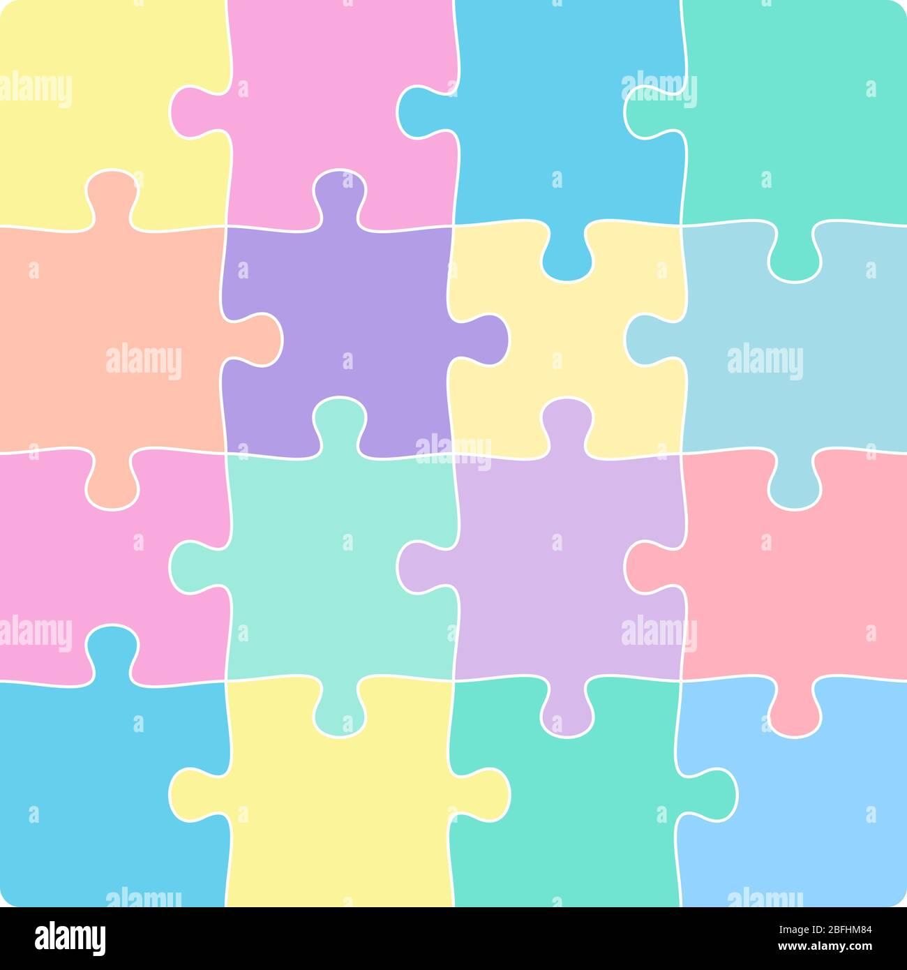 colorful 4x4 jigsaw puzzle template isolated on white vector illustration Stock Vector