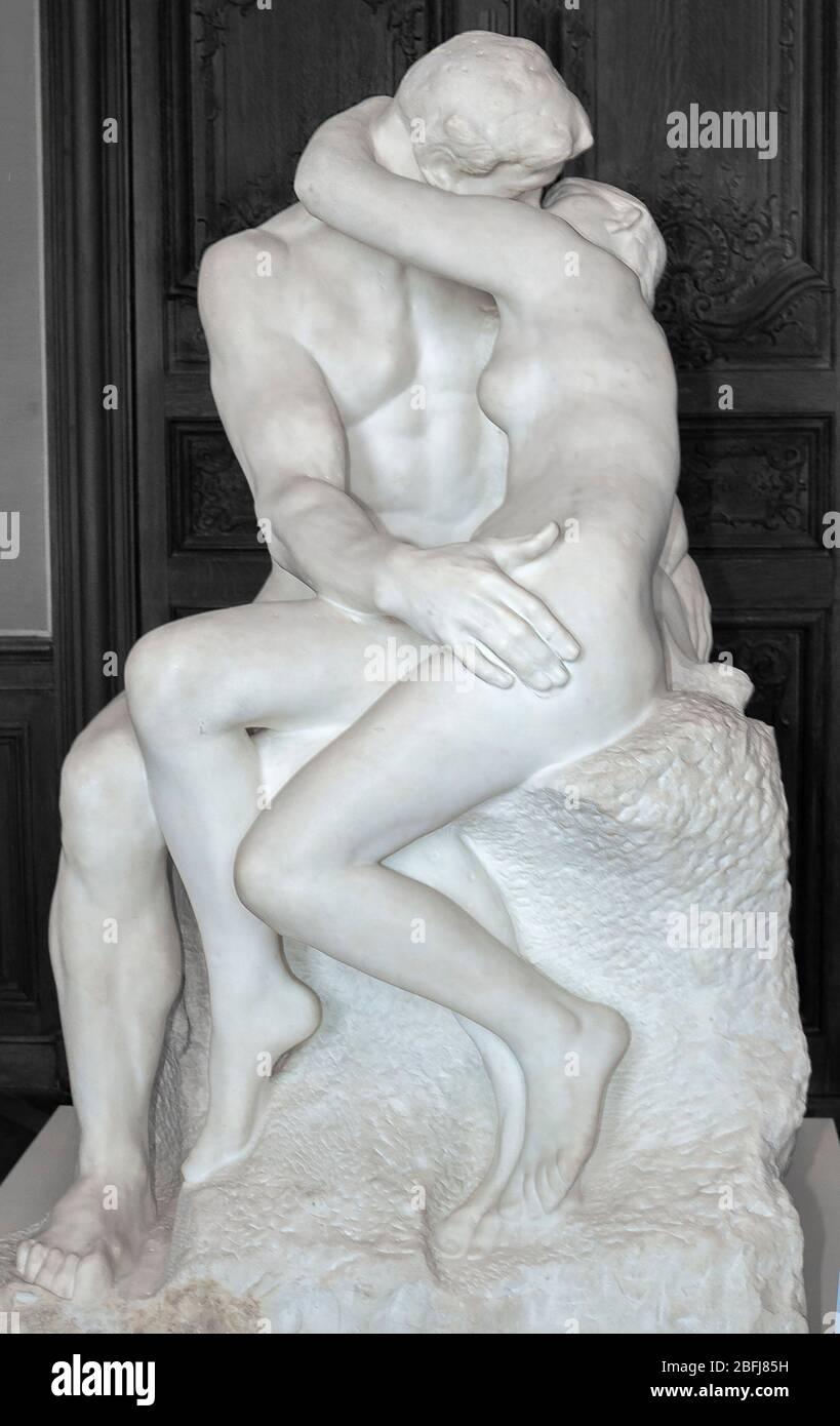 The Kiss a white marble sculpture by Auguste Rodin in the Rodin Museum (Musee Rodin), Paris, France, Europe Stock Photo