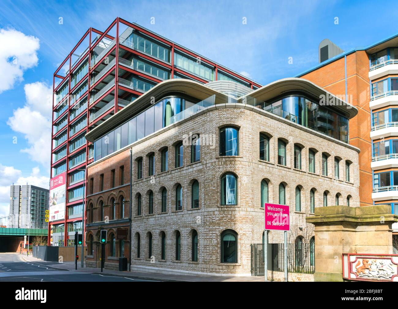 The Two New Bailey Square and the Riverside House office buildings, New Bailey, Salford, Manchester, UK Stock Photo