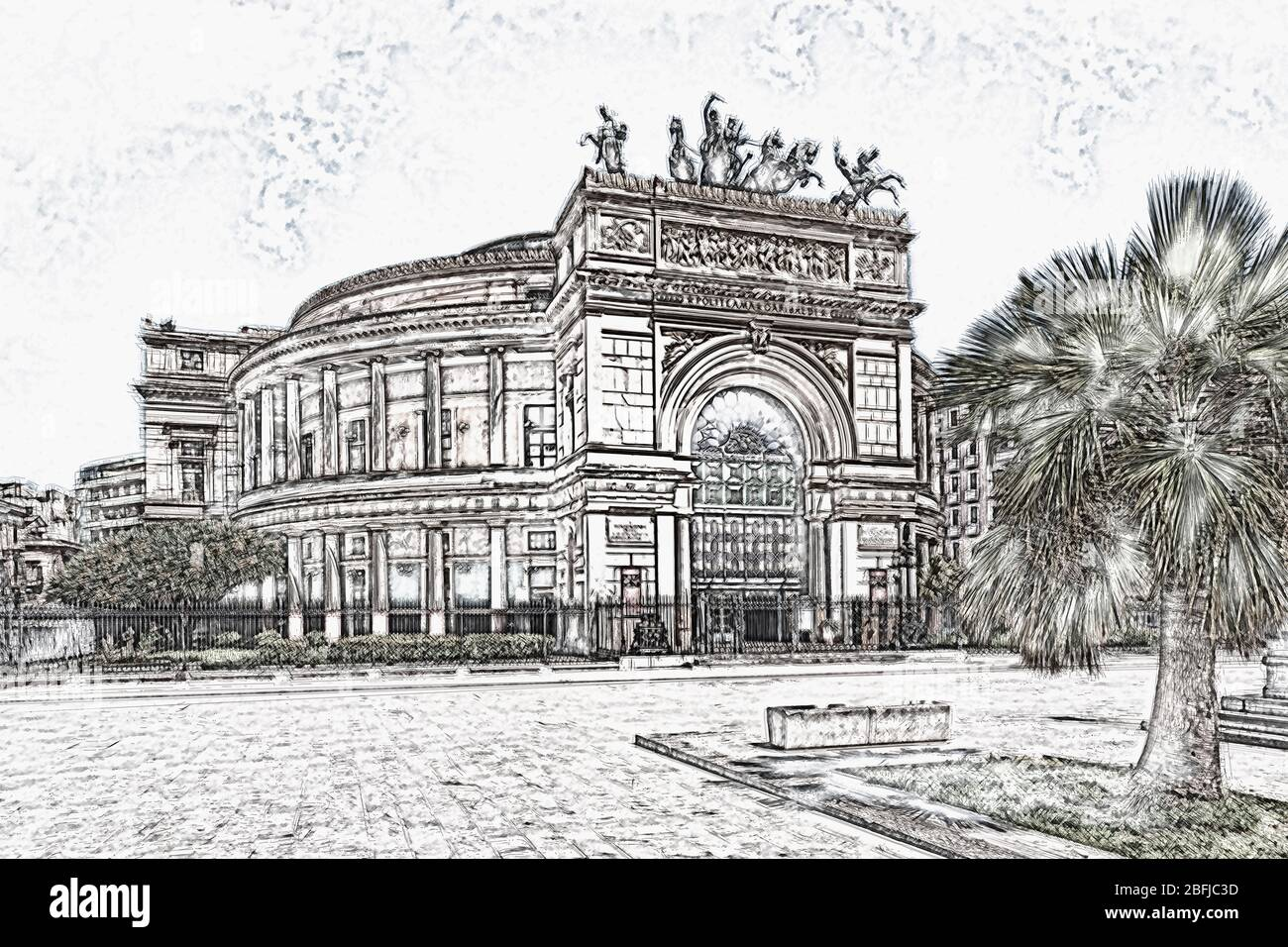 The Teatro Politeama or Teatro Politeama Garibaldi is a theater building in Palermo, Sicily, Italy, Europe Stock Photo