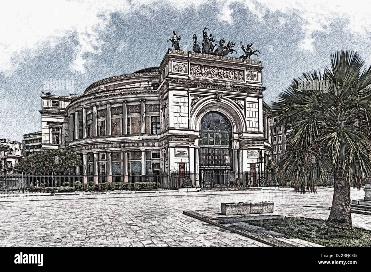 The Teatro Politeama or Teatro Politeama Garibaldi is a theater building in Palermo, Sicily, Italy, Europe Stock Photo