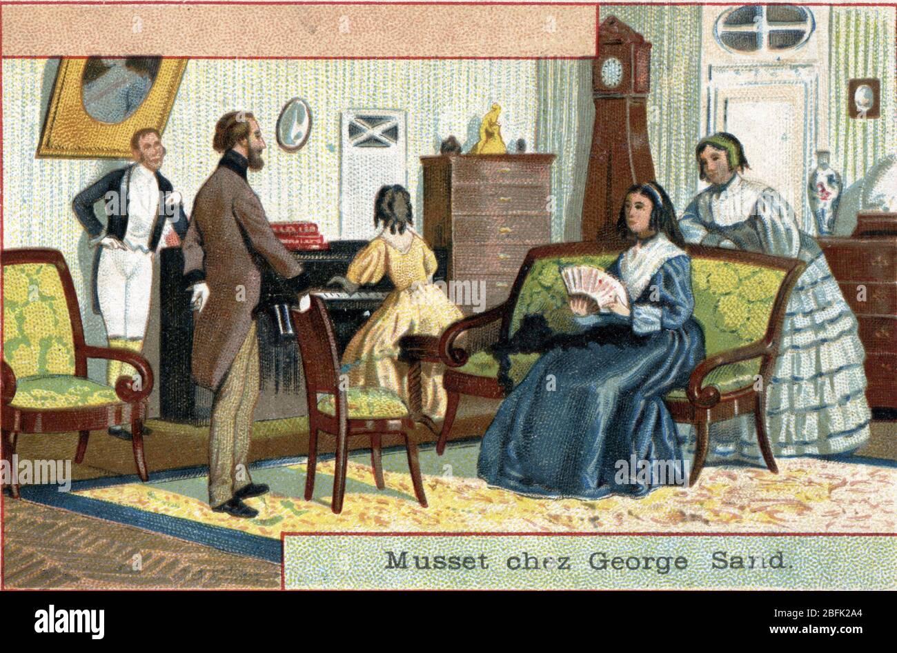 """""""Le poete Alfred de Musset (1810-1857) rend visite a l'ecrivain George Sand (Aurore Dupin, Baronne Dudevant) (1804-1876) quai Malaquais a Paris"""" (Fren Stock Photo"""