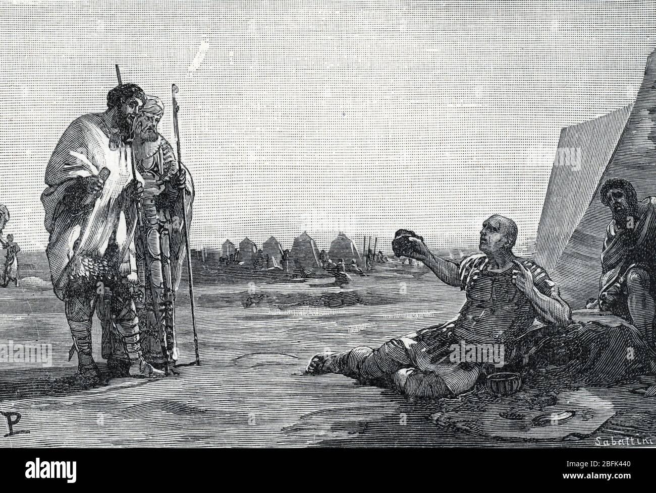 """""""L'empereur Carus (222-283) recevant des ambassadeurs perses en aout 283"""" ( Roman Emperor Carus and the persian legates, 283) Gravure tiree de """"Storia Stock Photo"""