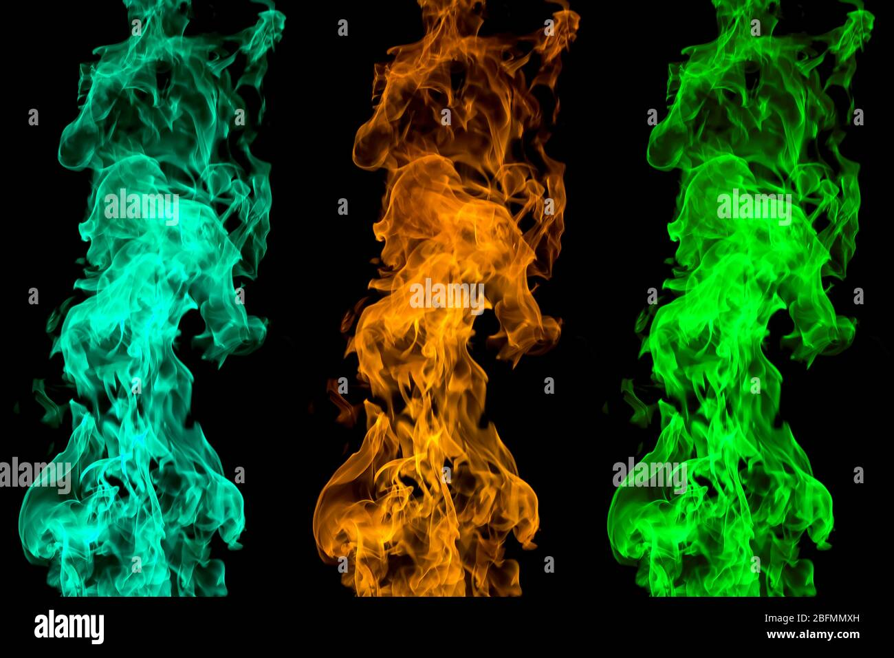 Colored Fire On Black Background Flaming Patterns And Abstract Smoke Concept Idea Project Stock Photo Alamy