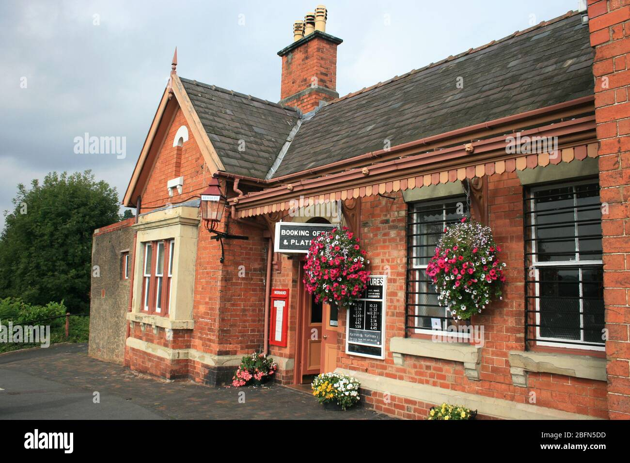 Bewdley railway station entrance, preserved station on Severn Valley Railway, Worcestershire Stock Photo