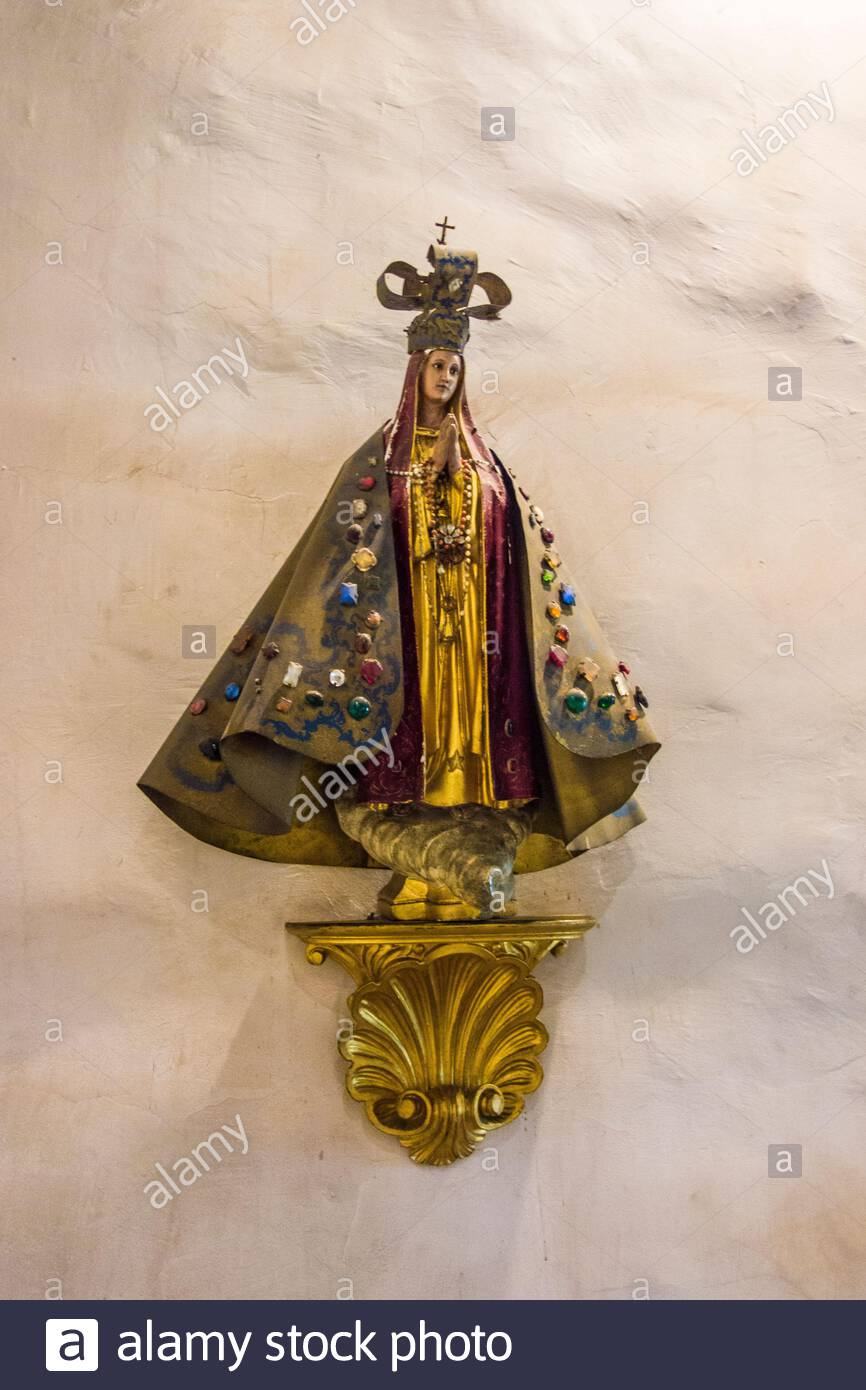 Statue of Our Lady of San Juan de los Lagos on a wall of The Ávila Adobe, built in 1818 by Francisco Ávila,the oldest standing residence in California Stock Photo