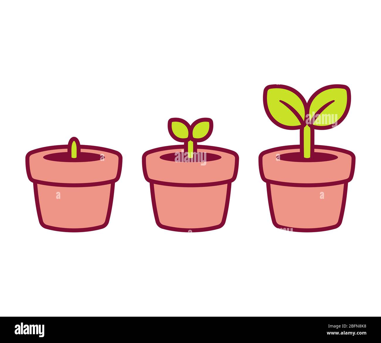 Sprouting Baby Plant Cartoon Illustration Cute Little Potted Plant At Different Stages Isolated Vector Clip Art Stock Photo Alamy