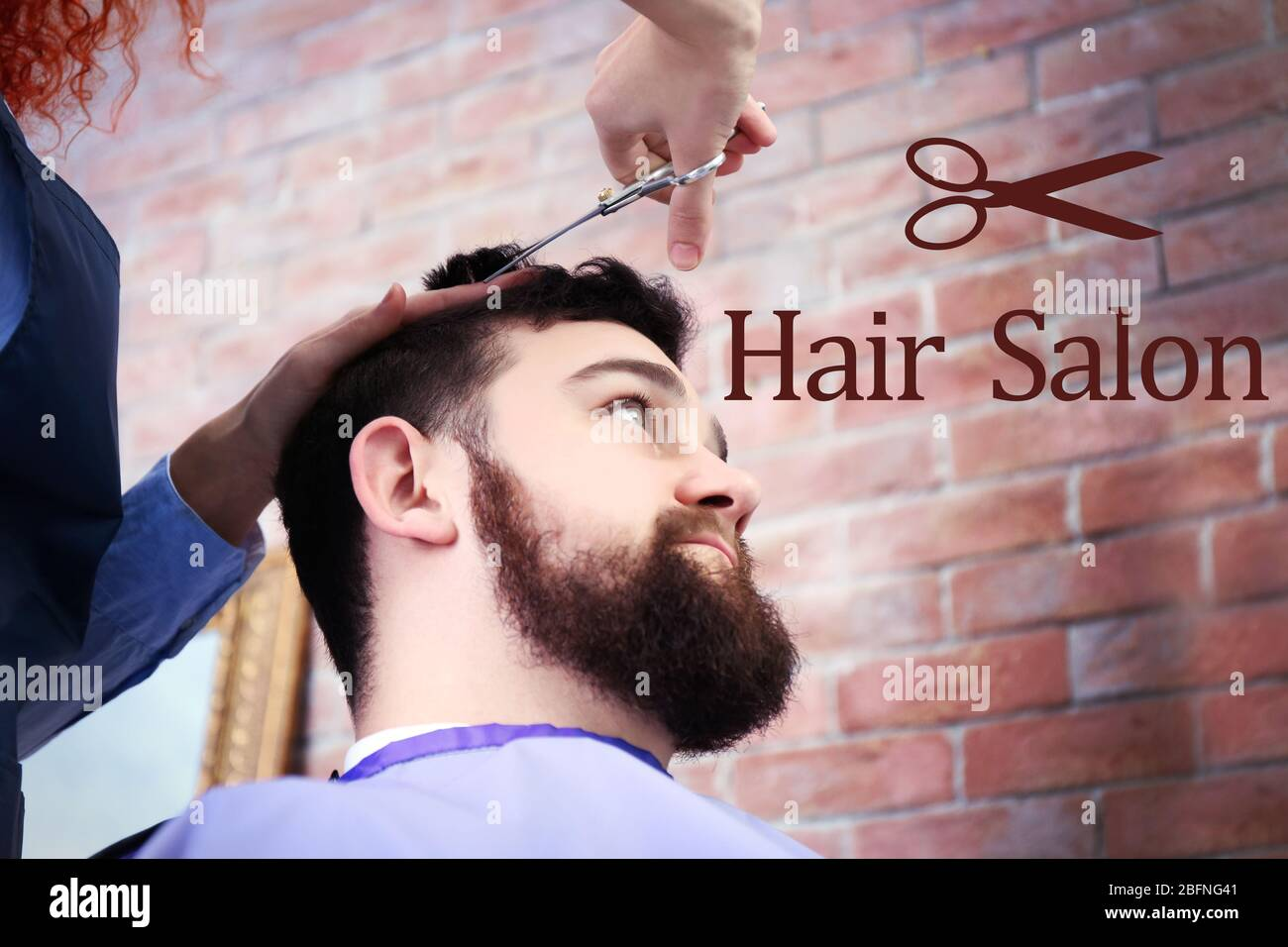 text hair salon on background. young man at barbershop stock photo - alamy  alamy