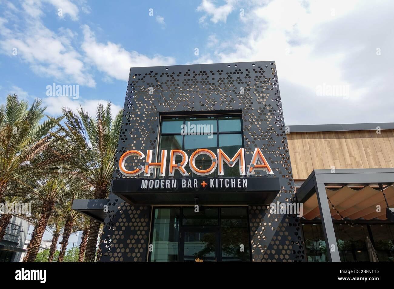 Orlando Fl Usa 4 11 20 The Exterior Of The Small Plate Modern Restaurant And Bar Chroma In Laureate Park At Lake Nona In Orlando Fl Usa Stock Photo Alamy