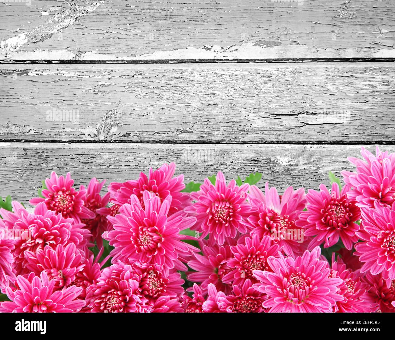 Beautiful Flowers On Vintage Wooden Background Stock Photo Alamy