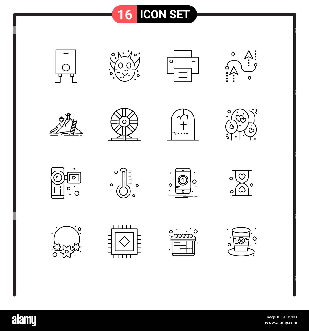 User Interface Pack of 16 Basic Outlines of personal, programing, interface, development, curves Editable Vector Design Elements Stock Vector