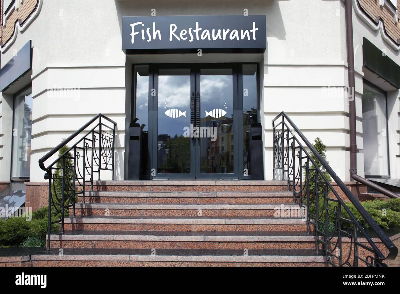 Modern Design Of Fish Restaurant Exterior Stock Photo Alamy