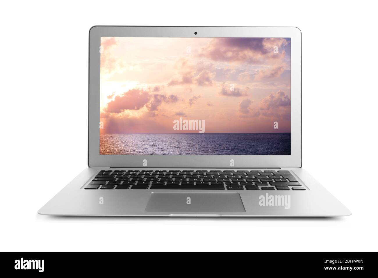 Laptop And Wallpaper Of Landscape On Screen White Background Stock Photo Alamy
