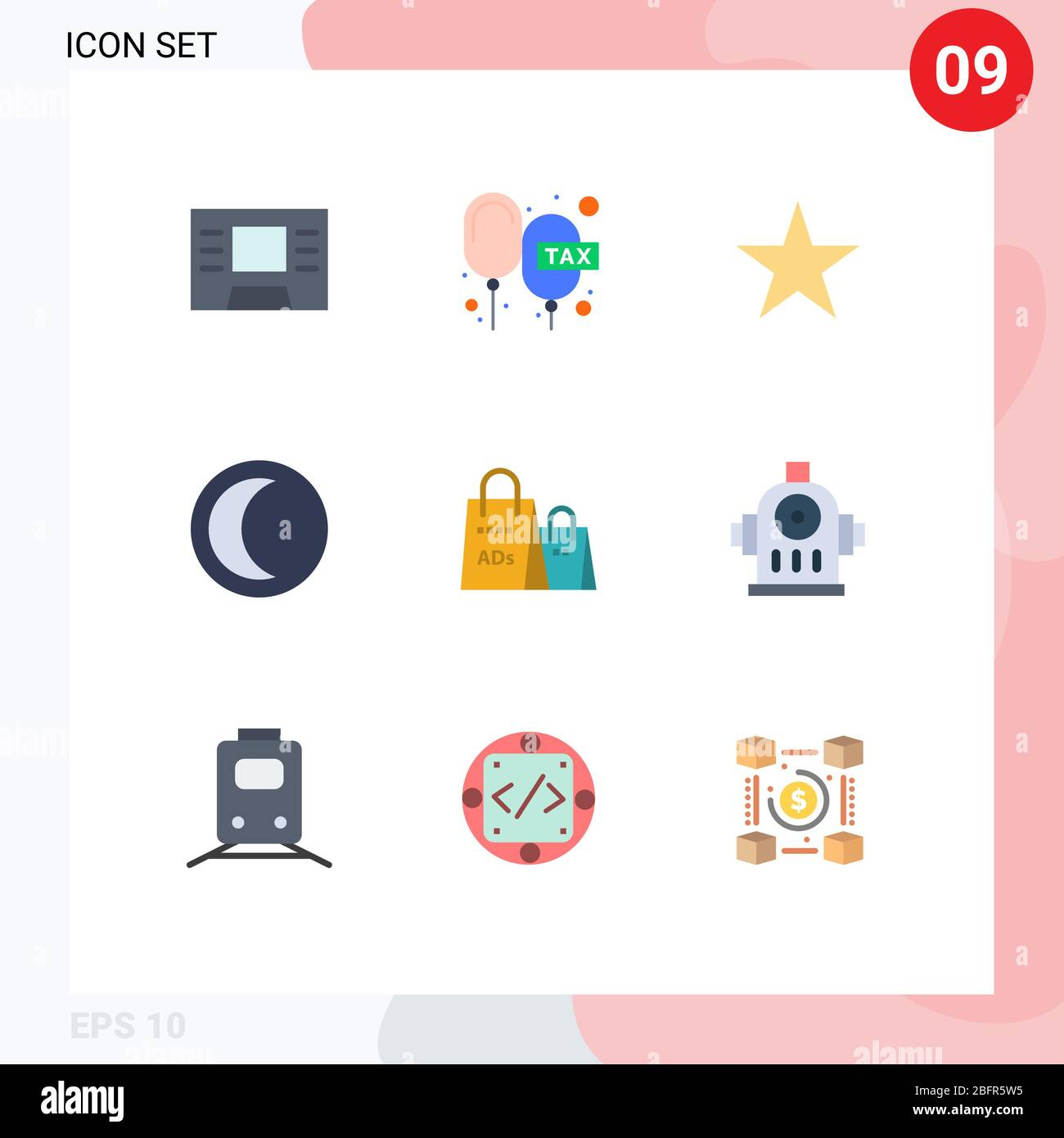 Flat Color Pack Of 9 Universal Symbols Of Shopping Ad Bag Star Advertising Night Editable Vector Design Elements Stock Vector Image Art Alamy