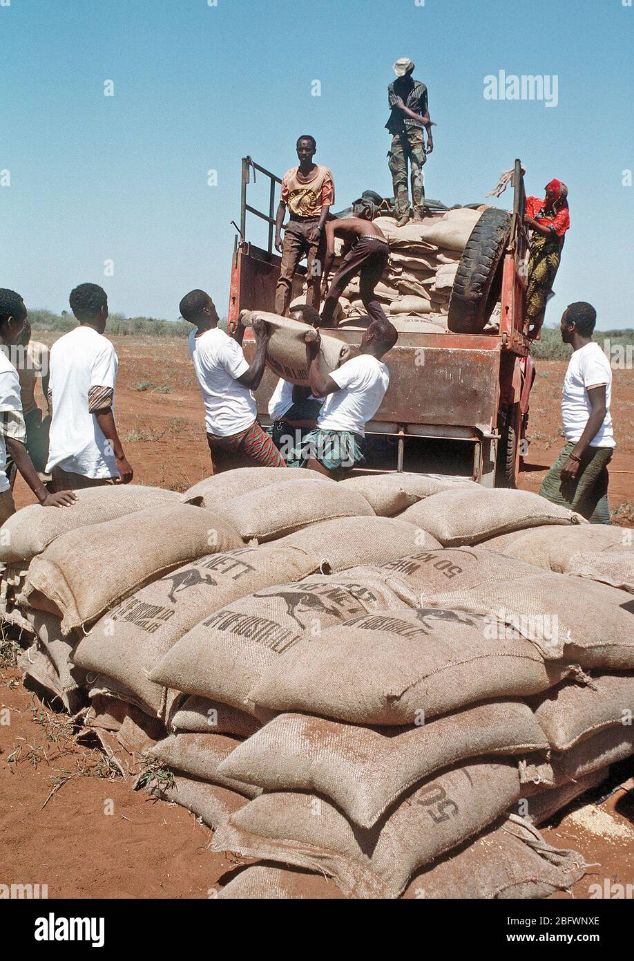 1993 - Men from the village of Maleel stack bags of wheat as a Marine Heavy Helicopter Squadron 363 (HMH-363) CH-53D Sea Stallion helicopter prepaers to drop another load during the multinational relief effort OPERATION RESTORE HOPE. Stock Photo