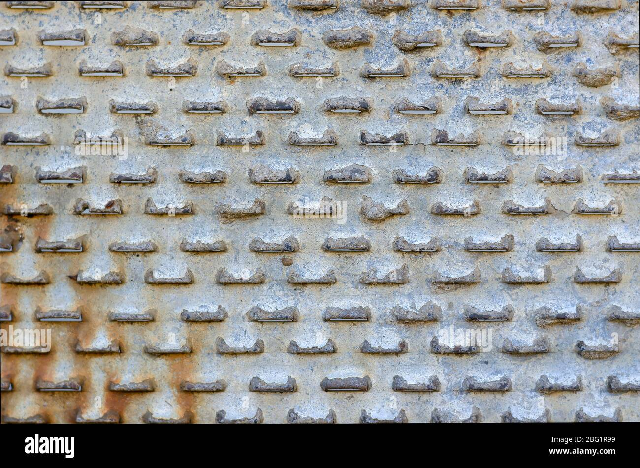 Old perforated metal close-up. Rusty Sheet Metal. Abstract background. Select a focus. Stock Photo
