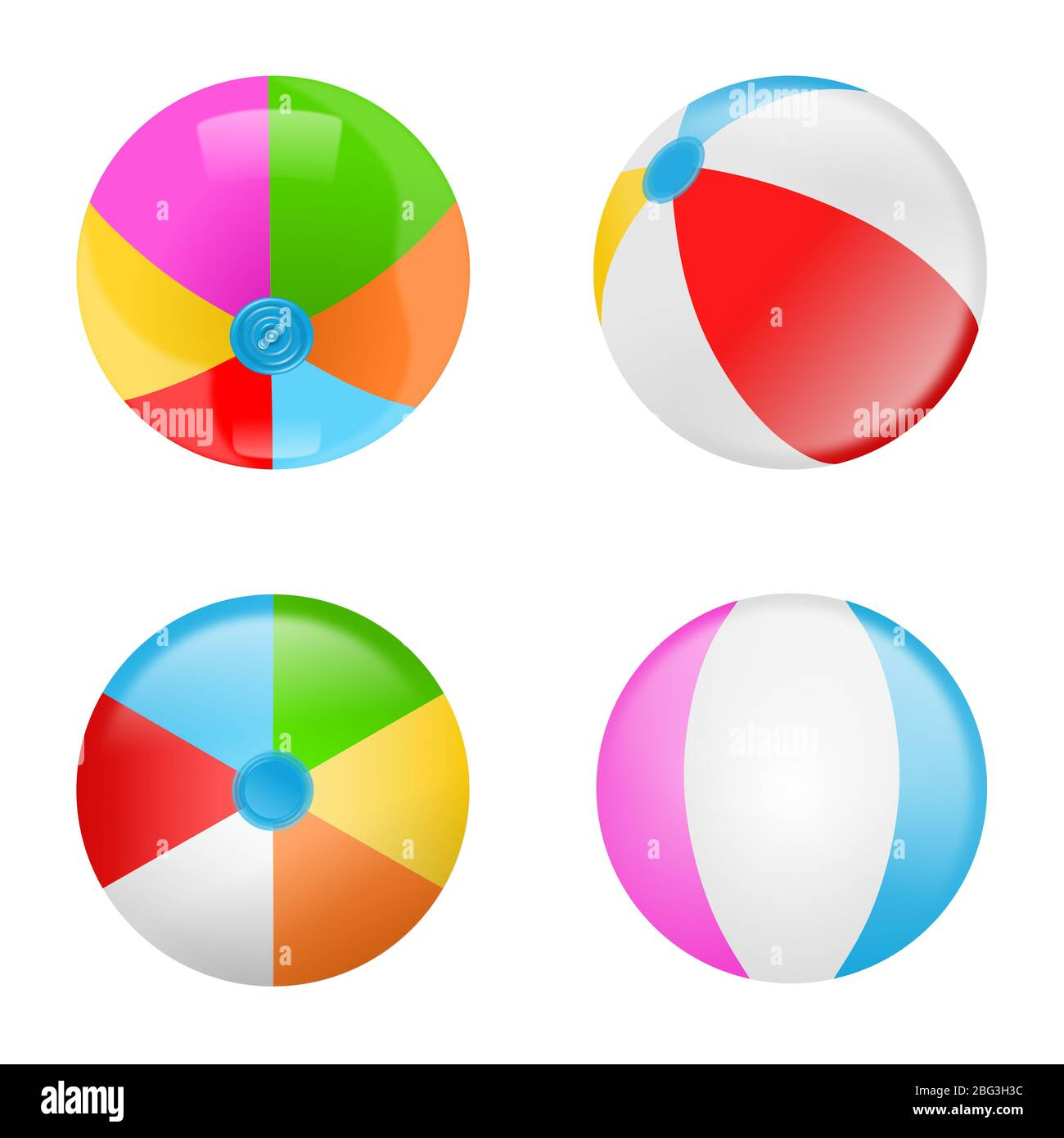Set of colorful beach balls. Collection of inflatable rubber balls Stock Photo