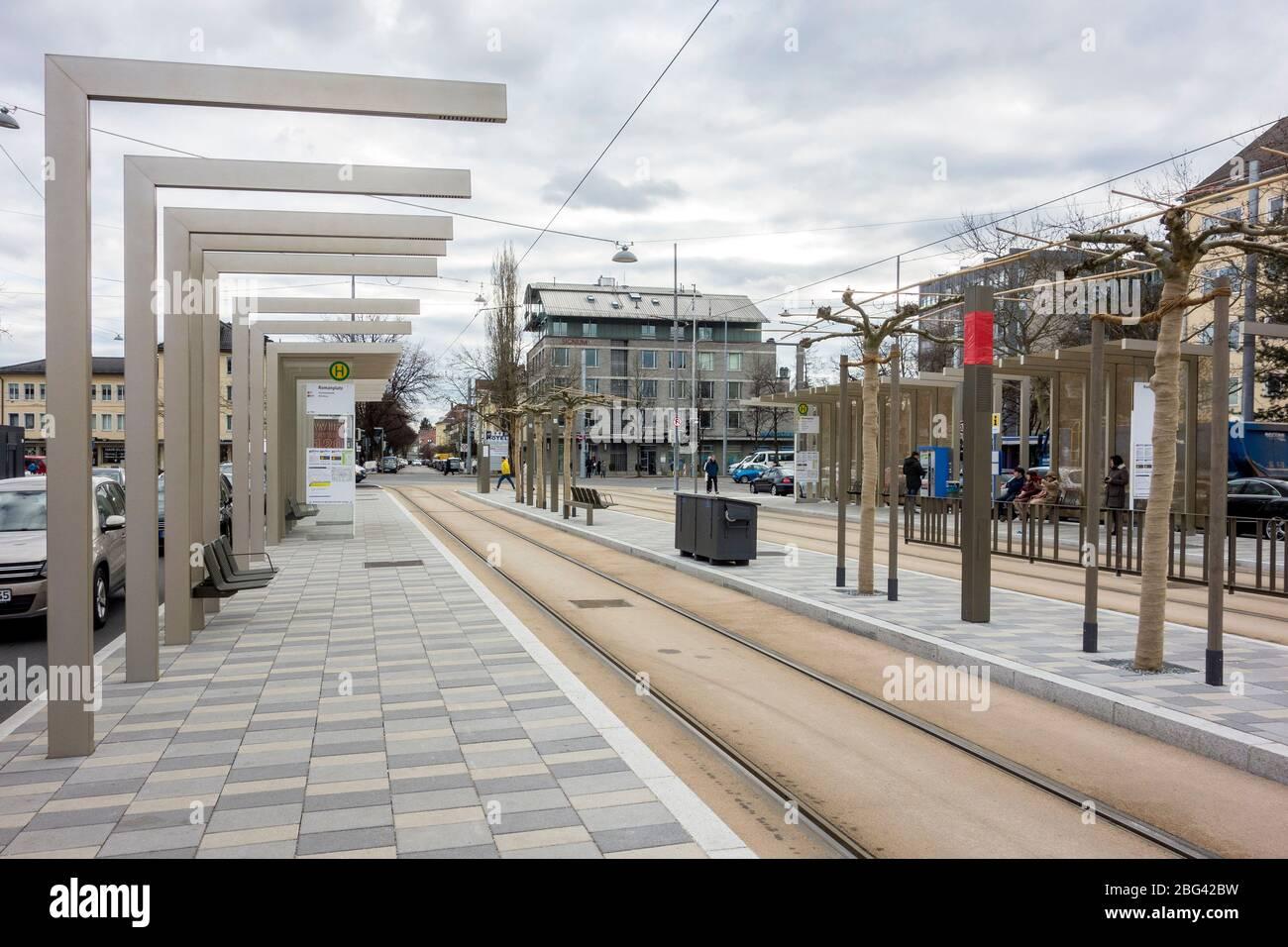 New Tram Station, Romanplatz, München, Germany Stock Photo