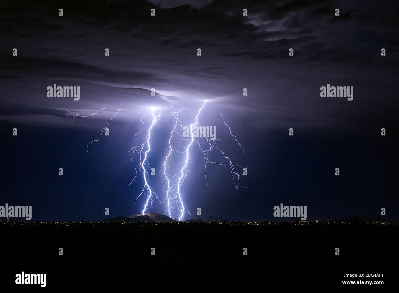 Lightning storm over Casa Grande, Arizona. Stock Photo