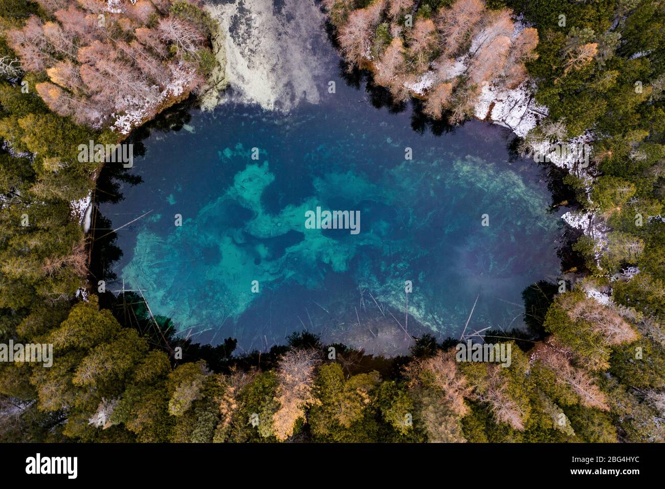 Aerial of Blue Freshwater Spring in Kitch-iti-kipi SP in Michigan Stock Photo
