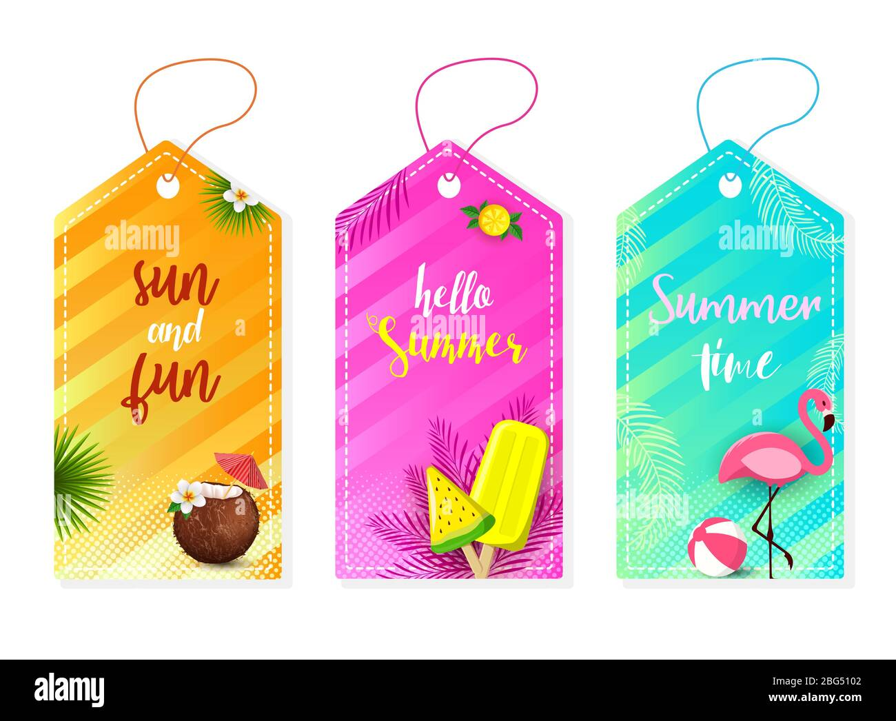 Summer Set Of Sale And Gift Labels Tags With Fun Elements Hand Drawn Lettering Collection With Palm Tropical Leaves Plants Flamingo Ice Cream Stock Vector Image Art Alamy