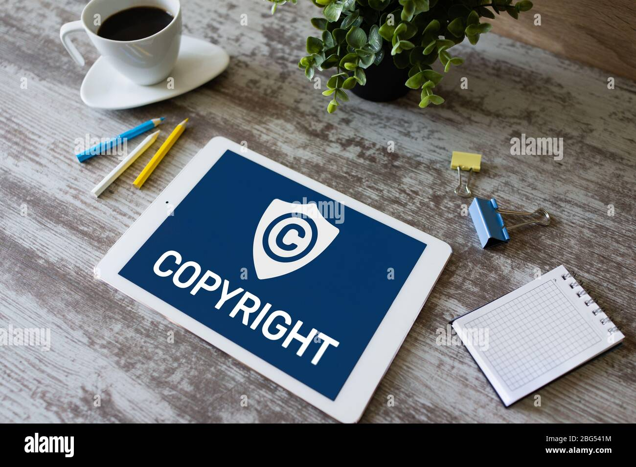 Copyright icon on screen. Patent Law and Intellectual Property. Business, Internet and Technology Concept Stock Photo