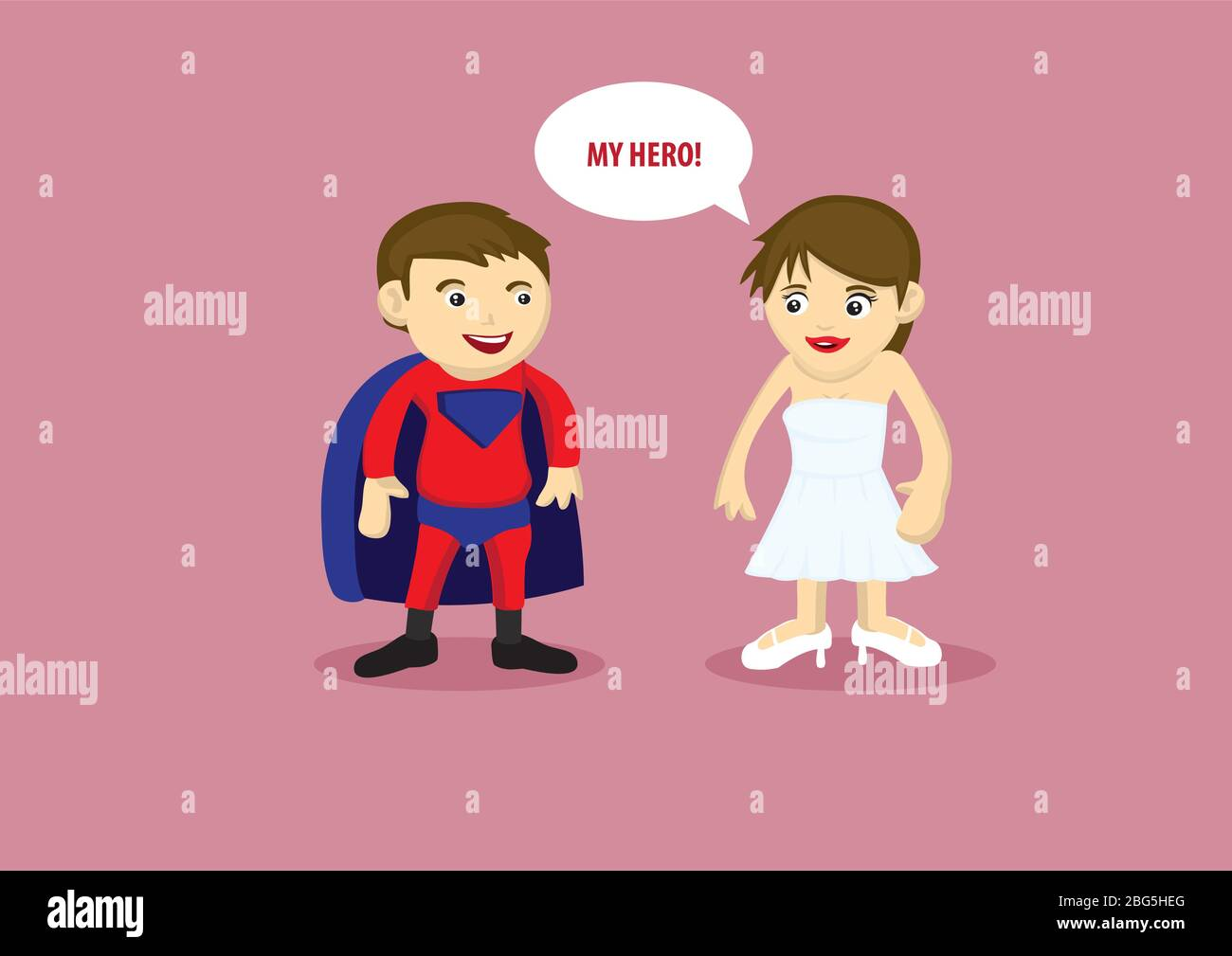 Vector illustration of a man in super hero costume with cape and a lady in white strapless dress and heels saying My Hero. Stock Vector