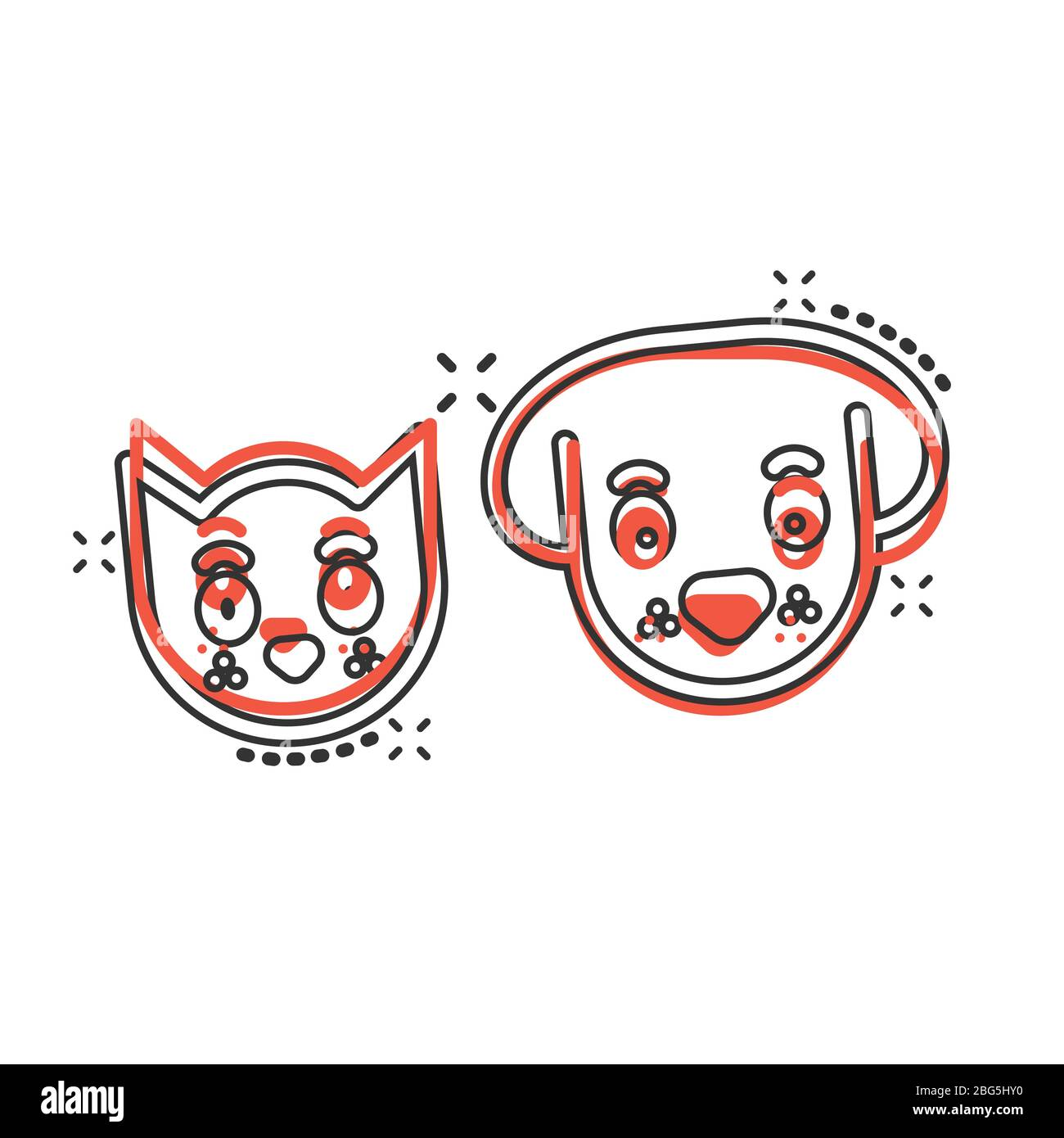 Dog And Cat Icon In Comic Style Animal Head Cartoon Vector