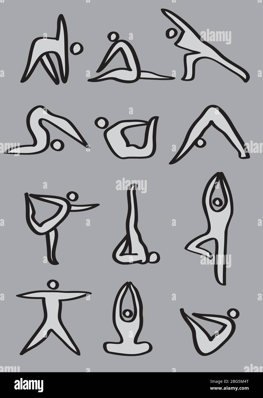Simple icon man demonstrating different yoga poses. Vector icons