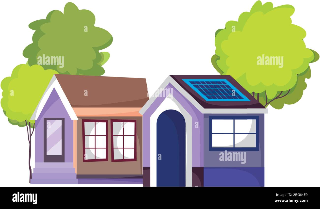 Eco Friendly House With Solar Panel Sustainable Isolated Icon Design Vector Illustration Stock Vector Image Art Alamy