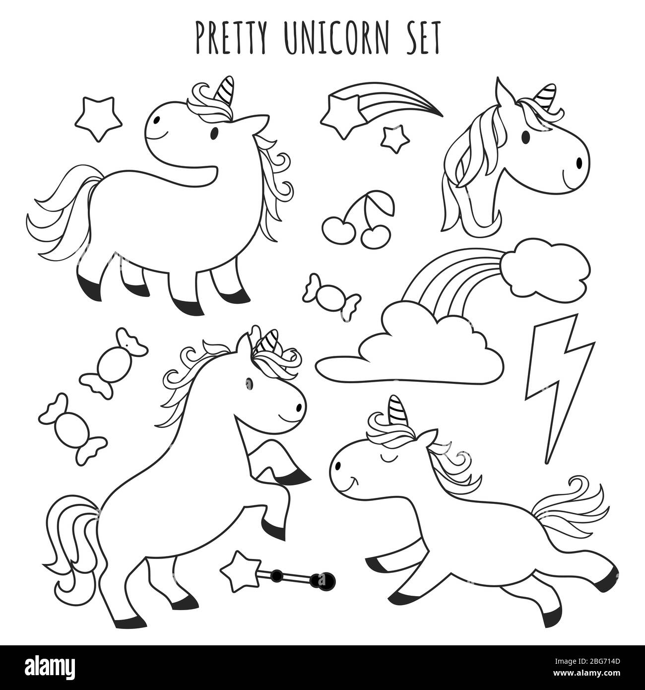 Coloring Page Unicorn Children High Resolution Stock Photography ...