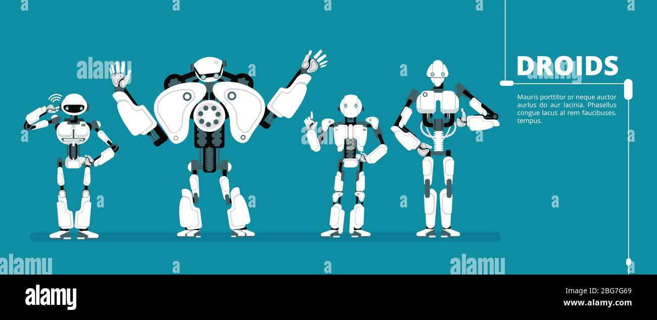 Cartoon robot android, cyborg group. Artificial intelligence ...