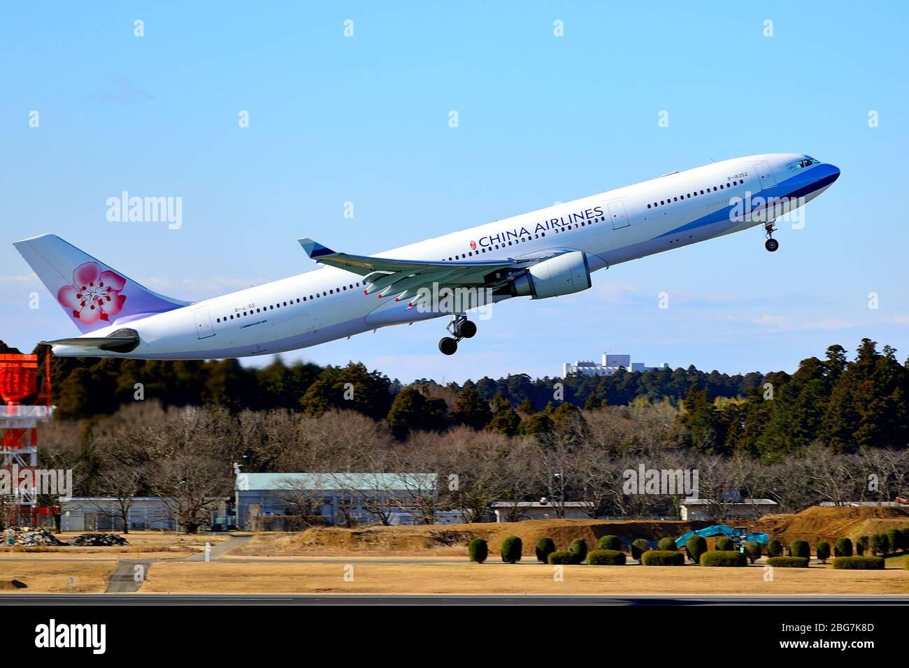 China Airlines, Taiwan, Airbus, A330-300, B-18352, Take Off, Narita Airport, Chiba, Japan Stock Photo
