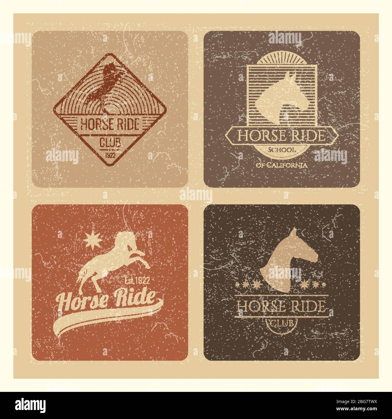 Horse Ride Club Vintage Retro Emblem Set Isolated Vector Illustration Stock Vector Image Art Alamy