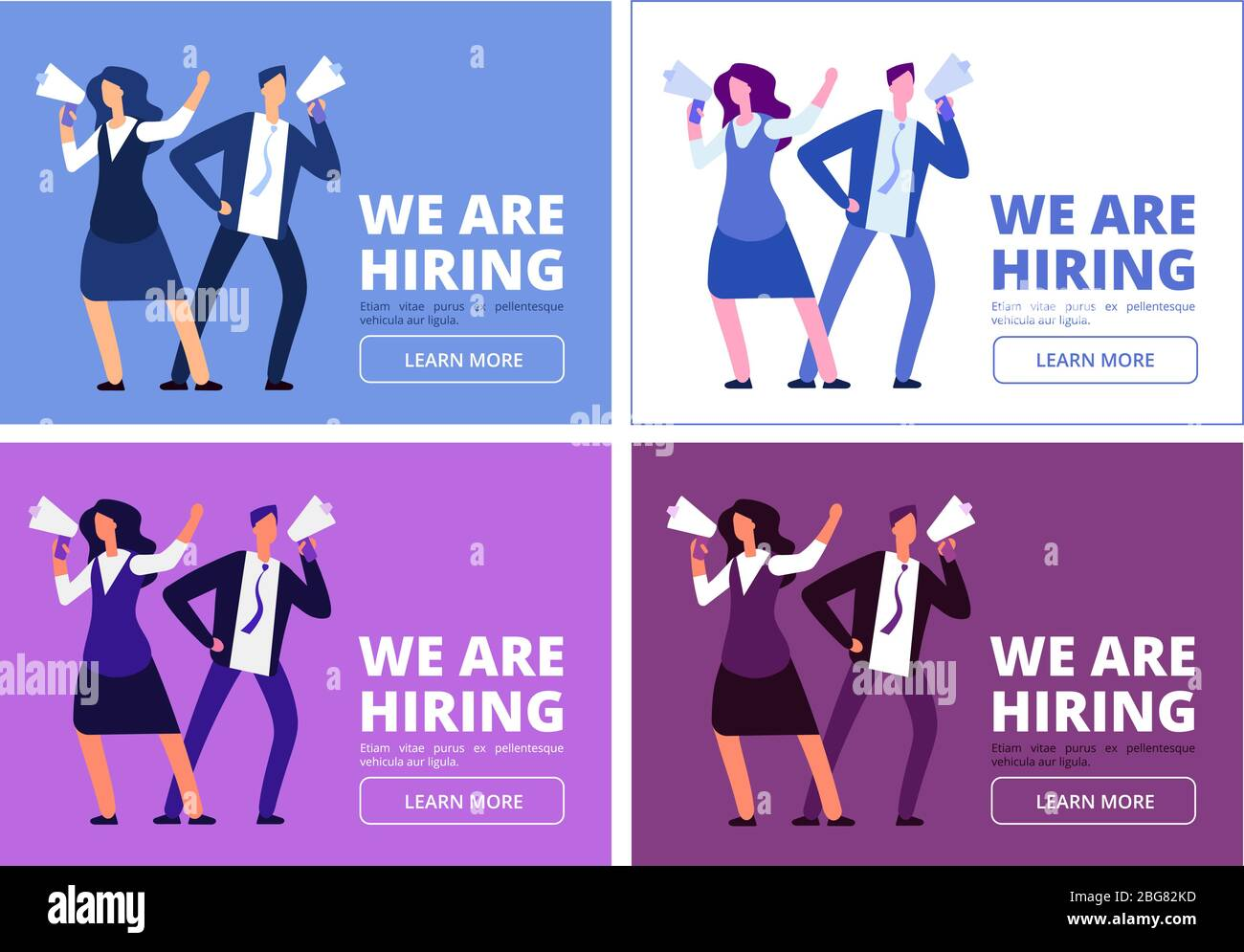 We Are Hiring Concept Man And Woman With Megaphone Shouting For Interview Business Recruitment Vector Background Hiring Human Hr And Interview Ill Stock Vector Image Art Alamy