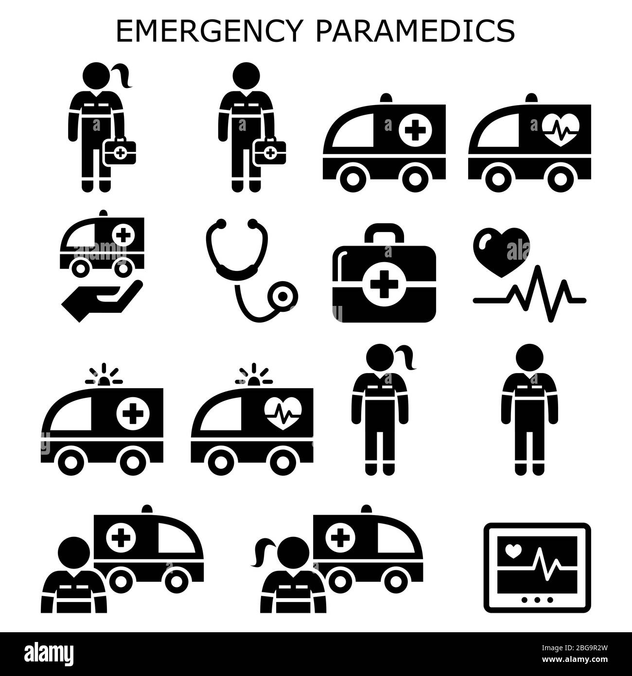 Emergency paramedics, ambulance vector icons set - healthcare medical workers Stock Vector