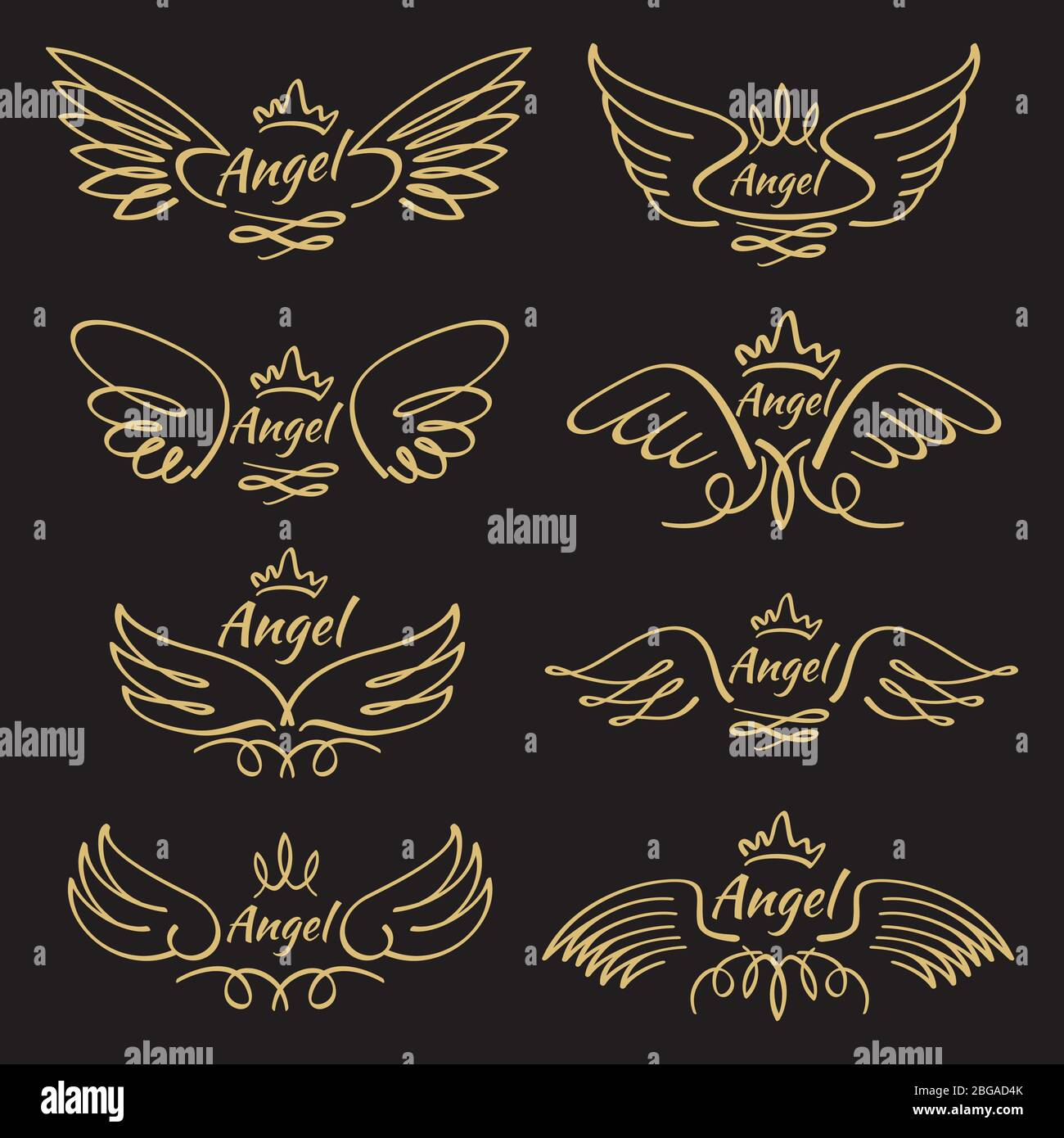 Gold Patterned Angel Wings