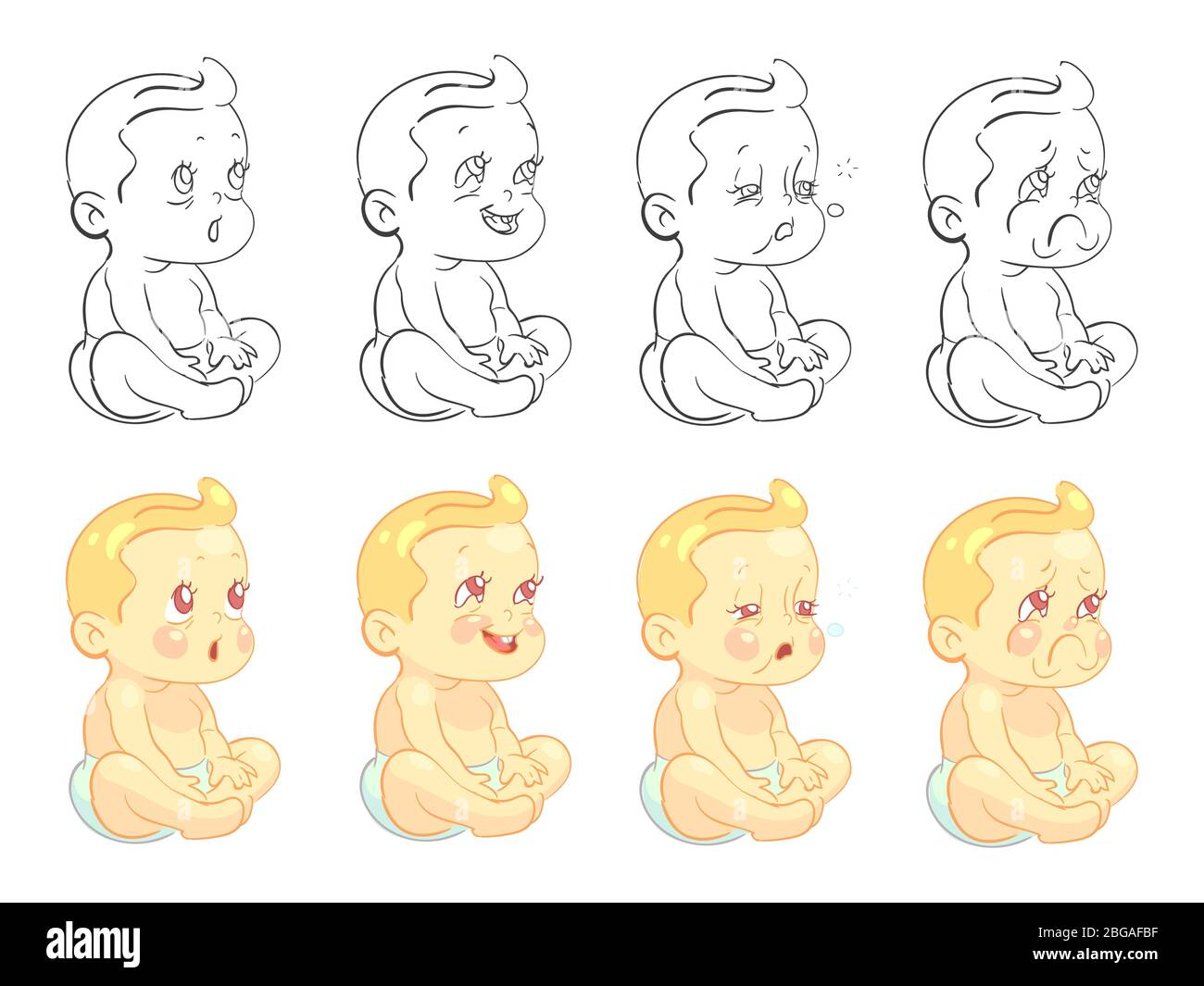 Emotional Cute Baby Coloring Page With Samples Isolated On White Background Vector Baby Boy Funny Face Happy Child Character Expression Illustration Stock Vector Image Art Alamy