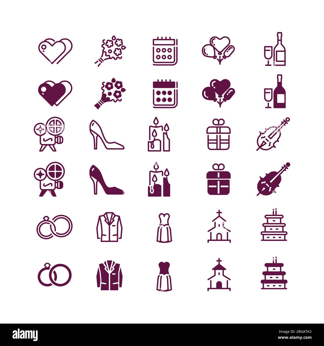 Love and wedding icons isolated on white background - linear and silhouette love icon. Champagne and marriage holiday, calendar and cake. Vector illustration Stock Vector