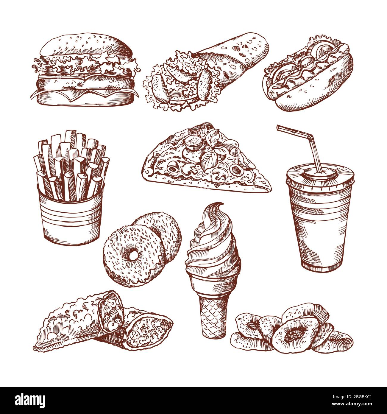 Fast Food Restaurant Vector Hand Drawn Pictures Of Burger French Fries Cola And Pizza Stock Vector Image Art Alamy