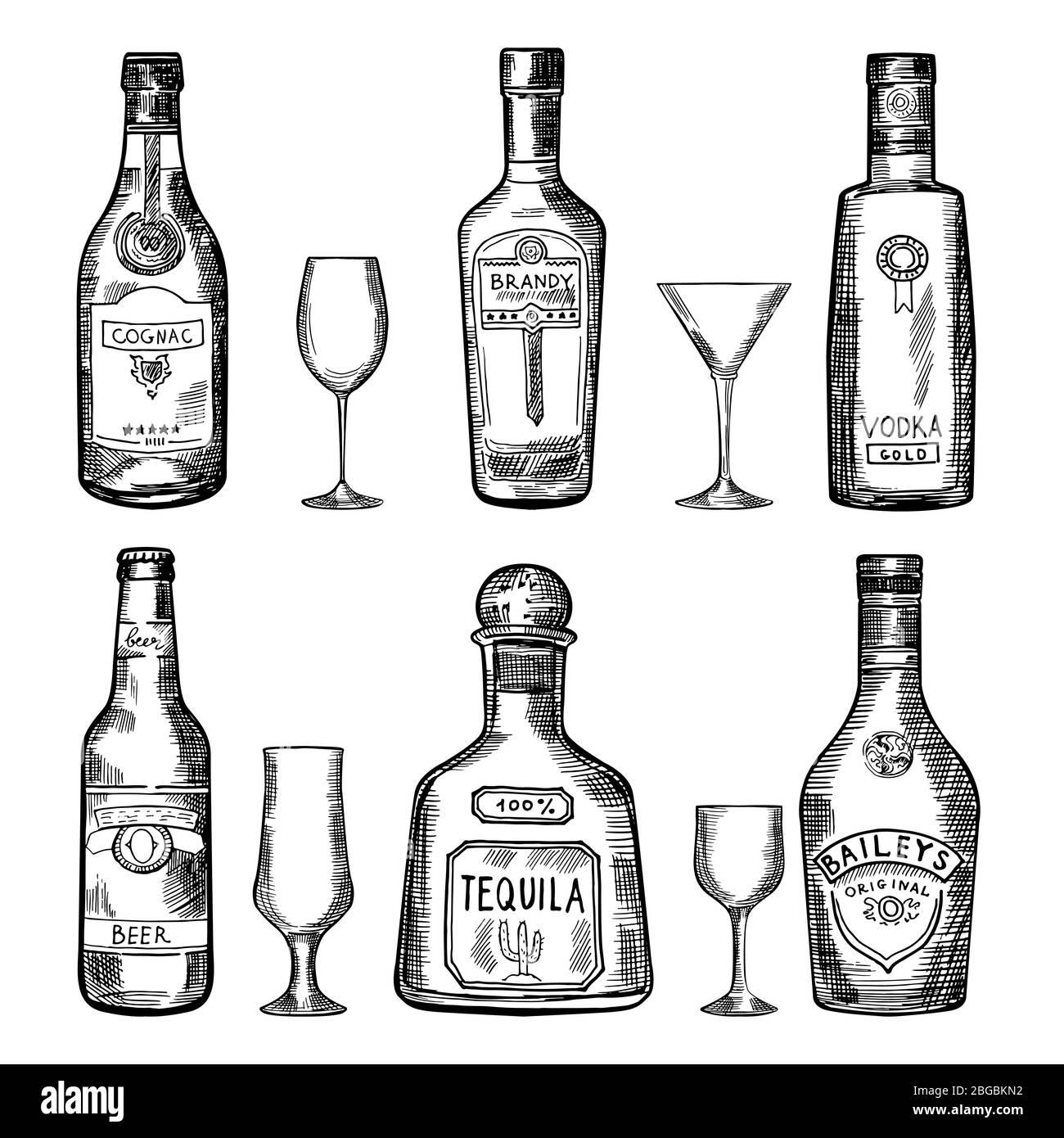 Vintage hand drawing different bottles. Vector illustration set Stock Vector
