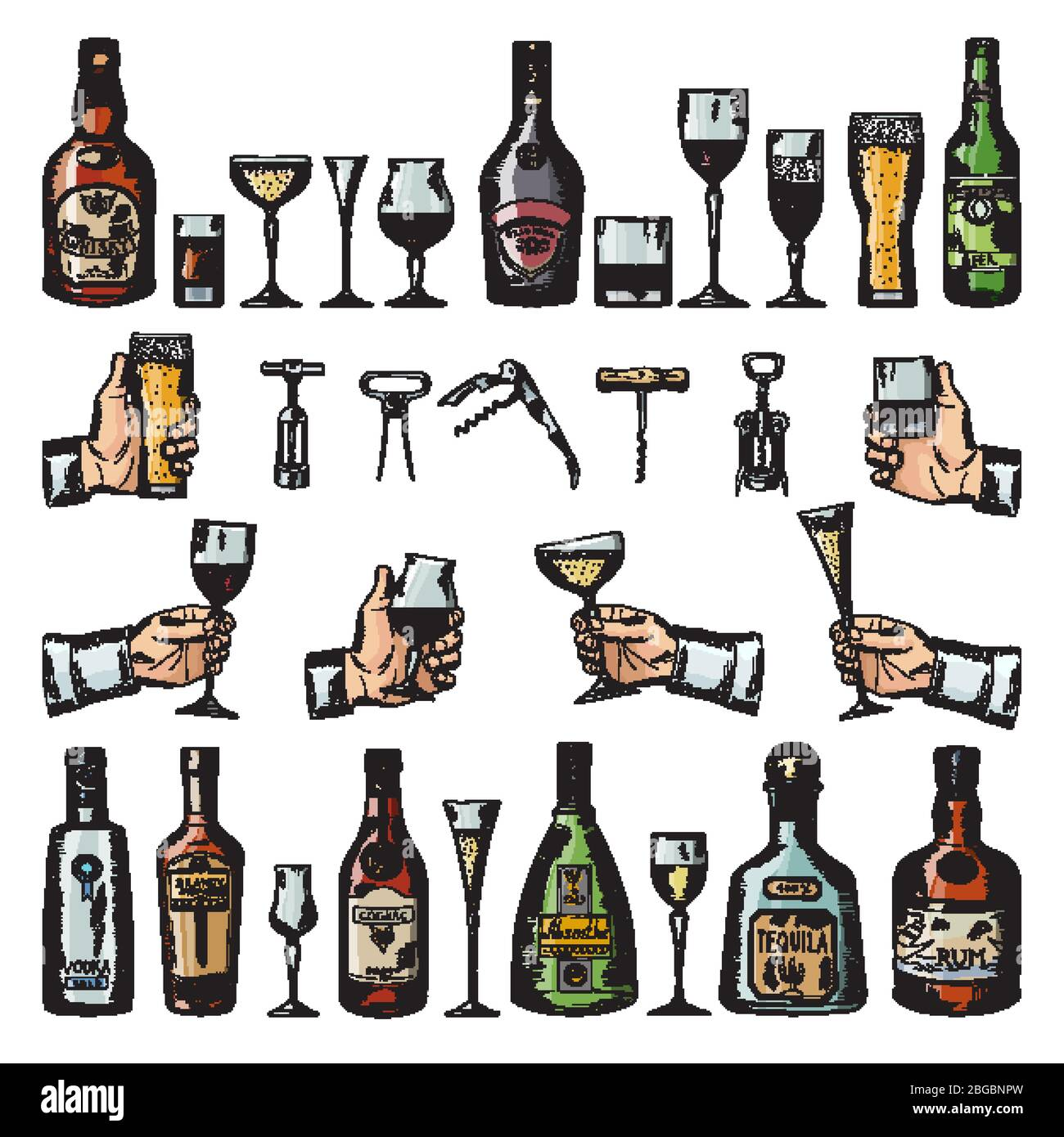 Set of alcoholic symbols. Different drinking glasses, wine bottles and corkscrews. Vector pictures in hand drawn style Stock Vector