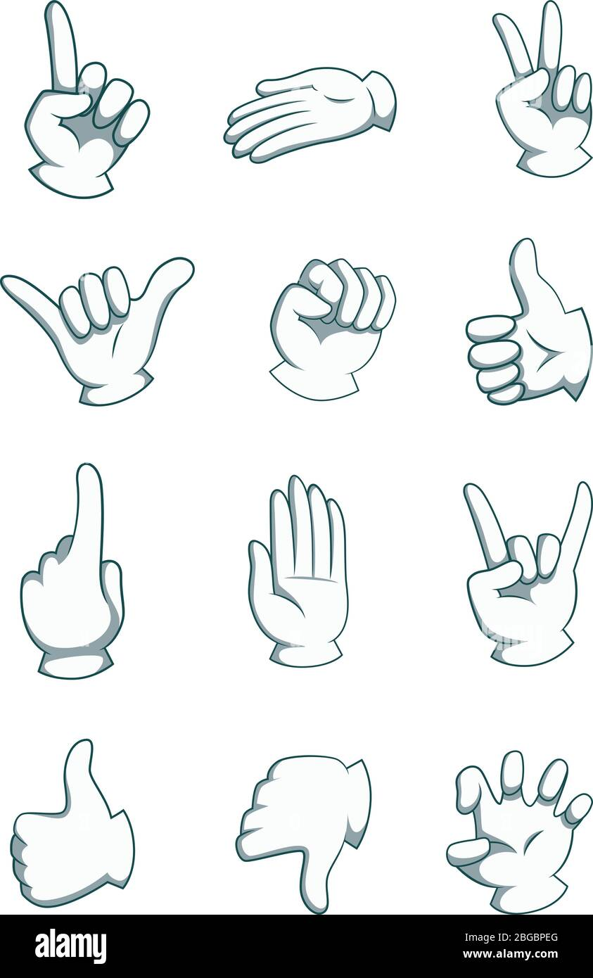 Cartoon Hands In Different Positions Vector Body Part Illustrations Isolate On White Stock Vector Image Art Alamy